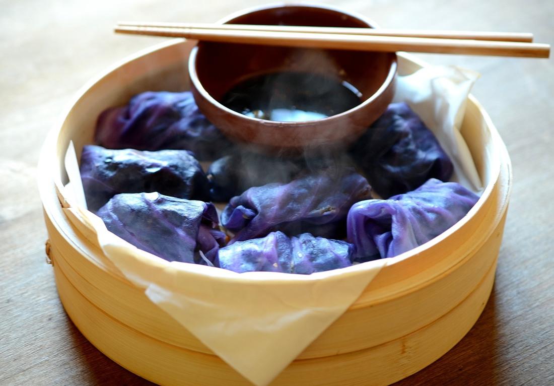 dumplings repollo y hongos al vapor