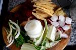cortando verduras tempura